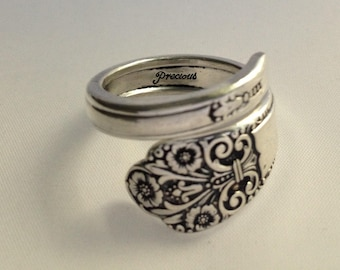 Spoon Ring Precious 1941 Wrap Style Size 5 to 12.5 Choose Your Size  Vintage Silverplate Silverware Jewelry