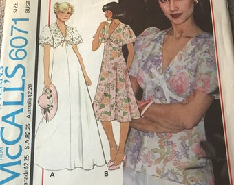 Vintage 70s McCall's 6071 Dress and Top Pattern-Size 12 (34-26 1/2-36)