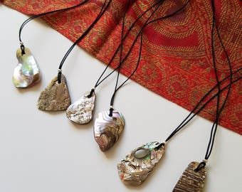 Northern CA Red Abalone Shell Pendant - 100% of Profits Donated to Redwood Credit Union Fire Relief Fund