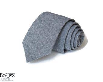 Gray Linen Necktie~Anniversary Gift~Wedding Tie~Mens Gift~Boys Necktie~Mens Necktie~Wedding~HoBo Ties~Mens Tie~Gray Linen Tie~Dark Gray