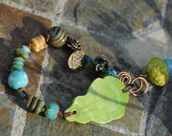 Autumn leaf with acorn bead by BoHulley Beads