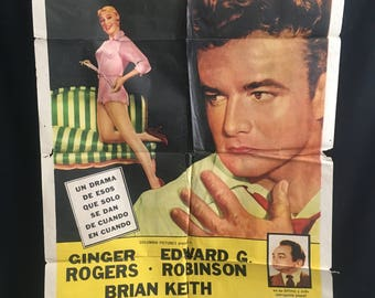 Original 1955 Tight Spot Spanish One Sheet Movie Poster, Ginger Rogers, Edward G Robinson