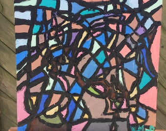 Stained glass-oils on thin canvas