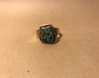 Men's Silver and Spiderweb Turquoise Ring sz 11