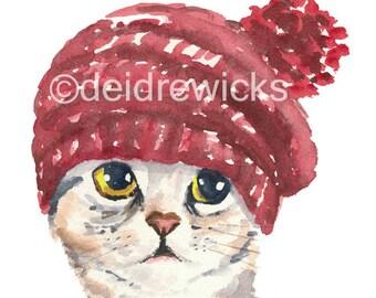 Cat Watercolour Fine Art PRINT - Cat in a Knit Hat, Silver Tabby, Cat Illustration, Cat Lover Gift, Nusery Art
