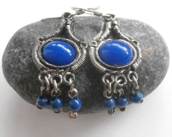 Blue Stone Earrings - Vintage Earrings - Dangle Earrings - Silver