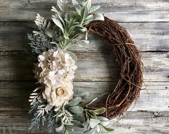 Spring Wreath, Spring Decor,Summer Wreath, Mother's Day Gift,Farmhouse Wreath, Summer Decor, Front Door Wreath, Farmhouse Decor, Wreath