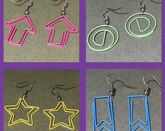 Fun Shapes Repurposed Paperclip Dangle Earrings