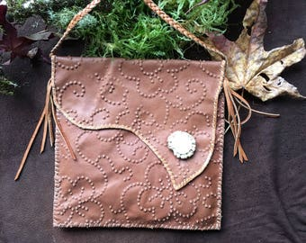 Cross Body Messenger Pouch Native American Made Leather with Antler