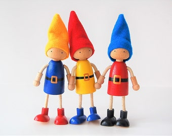 Dollhouse Dolls - Gnomes - Set Of 3 - Bendable Arms and Legs -Unique Gift - Waldorf Style Wooden Dolls