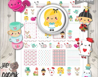 Alice Stickers, Planner Stickers, Alice in Wonderland, Wonderland Stickers, Printable Planner Stickers, Planner Accesories