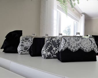 SALE 20% OFF Mis Matched Bridesmaid Clutches Set of 5 Black,Bridal Accessories,Wedding Clutch,Lace Clutch,Bridesmaid Clutch
