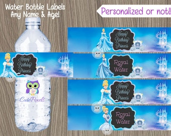 Cinderella Water Bottle Label, Princess Birthday, Disney Princess Party, Princess water bottle label, Bottle label, Cinderella Birthday