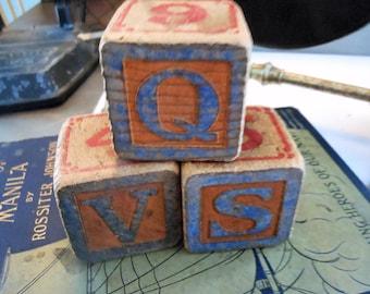 Vintage Childrens Blocks, solid wood, worn