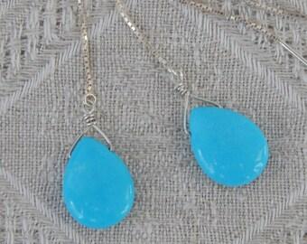 Turquoise Threader Earrings, Stabilized Arizona Turquoise Earrings, Turquoise & Sterling Briolette Earrings, December Birthstone, Turquoise