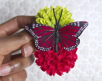 Double Watermelon Pom Pom Hair Flower with Hot Pink Monarch Butterfly // High-End Fashion Accessory / Luxury Hair Styling Fashion Product