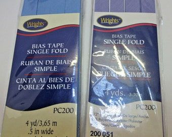 Wrights Bias Tape - 2 - Blue and Lavender Single Fold Packages Sewing Hemming NEW Unused Uncut