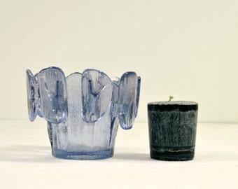 Vintage Viking Glass Candle Holder Violet Purple Finnish Crown Scandinavian Style Design
