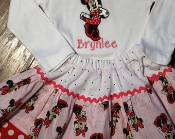 Minnie Mouse inspired 3 tier Twirl skirt,Minnie shirt,Minnie Red and white polka dot, Baby Minnie bodysuit,Disney shirt,Pink twirl skirt