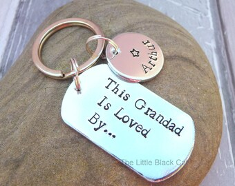 This Grandad Is Loved By, Grandad Keyring, Grandad Gift, Personalised Keyring, Dog Tag Keyring, Childrens Name, Gift For Grandad, Grandpa