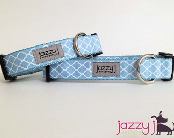 Baby Blue and White Trellis Quatrefoil Dog Collar
