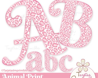 Alphabet, letters digital Animal print to print and create presentations - immediate download - PNG - Scrapbook