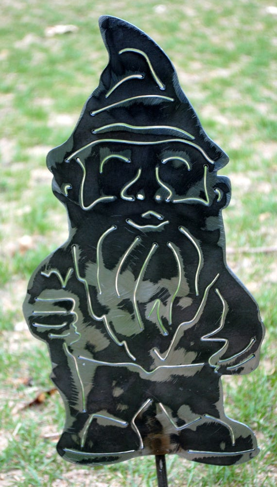 Gnome Yard Art, Garden Gnome, Metal Gnome, Fairy Gnome, Elf Gnome, Fantasy Art, Spring Decor, Outdoor Art, Statue, Gift for Mom, Gift to Her