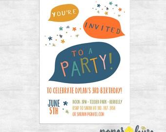 fun birthday party invitations / modern birthday invite / confetti party invite / printable file or printed invites