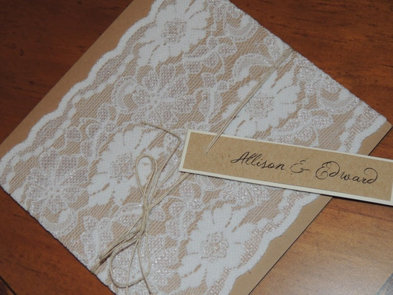 Rustic Lace Invitation - Country Lace Wedding Invitation