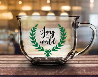 joy to the world 16 oz clear glassmug girlfriend gift christmas gift