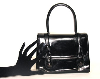 Black Leather Mid Century Handbag 1960 - Vintage French Woman Trend - Sixties Chic Accessories - Woman Trend Paris