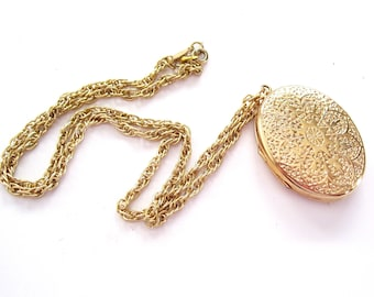 Gold Art Nouveau Locket, Vintage Napier Locket, Mother's Day Locket, Art Deco Locket Necklace, Oval Photo Locket, Mourning Locket