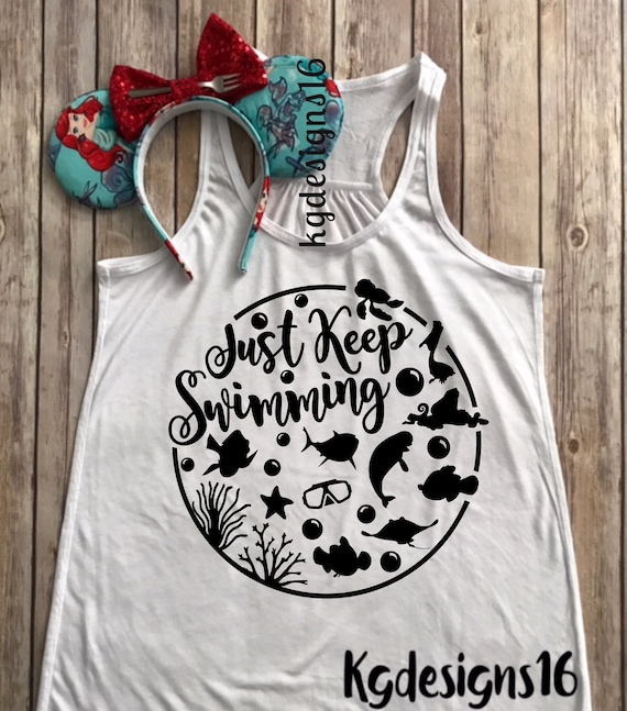 Just Keep Swimming Tank Top-Nemo Shirt-Dory Tank Top-Vacation Shirt-Bella Canvas Flowy Tank Top-Loose Fit-30 Colors