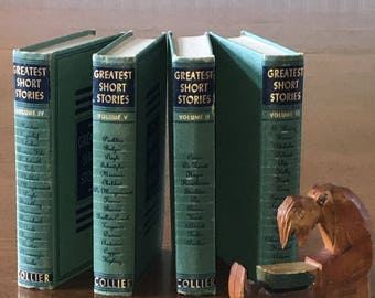 Colliers Greatest Short Storiess Volumes 2-5, Vintage Book Stack Home Decor Old Decorative Books Vintage Color Accent Instant Library