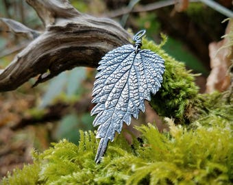 Urtica dioica - Stinging Nettle - Larger Pendant  -Oxidized Fine Silver  by Quintessential Arts