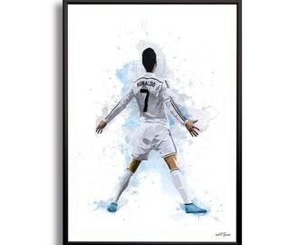 Cristiano Ronaldo Portugal World Cup Soccer Poster, Watercolor Contemporary Abstract Drawing Print, Sports Art Print, Football Poster,