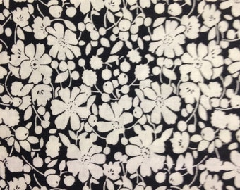 White Flowers on Black Background, 100% Cotton