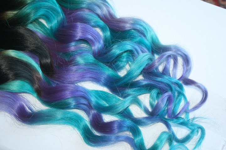 Clip In Hair Extensions Purple Teal Hair Weave Wide