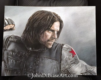 Original Drawing of The Winter Soldier (Sebastian Stan) from Captain America: Civil War 9x12 (NOT a print)