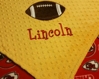 Personalized Kansas City Chiefs Football Fleece and Minky Baby Blanket with football applique