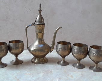 Mini Vintage Brass Coffee Pot & Matching Brass Cups Goblets, Etched Vintage Brass Tea Pot, 6 Piece Metal Tea Kettle Set, Brass Home Decor