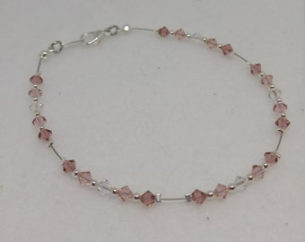 Shades of Rose Swarovski Crystal and Steel Anklet