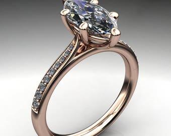 tatum ring - 1.80 carat marquise cut NEO moissanite engagement ring, marquise engagement ring