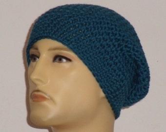Crochet hat in teal