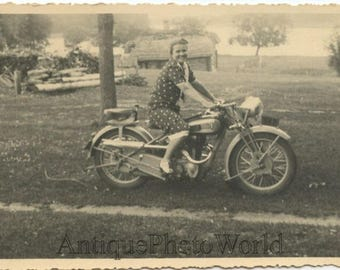 Russia woman on motorcycle antique rppc photo