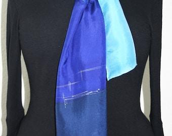 Blue Silk Scarf. Turquoise Hand Painted Silk Shawl. Navy Blue Handmade Silk Scarf OCEAN HUG, 8x54. Birthday, Bridesmaid Gift. Gift-Wrapped