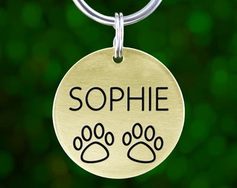 Custom Pet Tag for Dog (Brass: Pawprints)