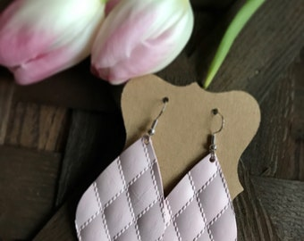 Pretty in Pink quilt leather earrings | light pink quilted leather earrings | lightweight leather earrings | gifts for her