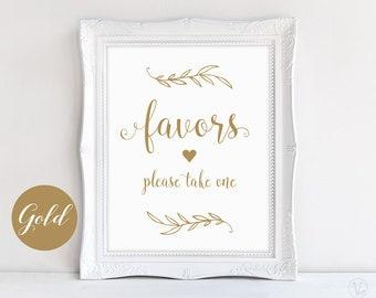 Printable Gold Favors Sign, Wedding Favors Sign, Instant download, Wedding Reception Signs, VW01GOLD