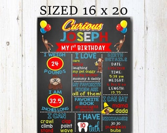 Curious George Birthday Chalkboard Poster Curious George Birthday Poster  Curious George First Birthday Sign , Curious George Birthday Stats